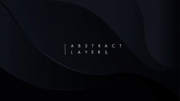 Papel preto cortado fundo. decoração realista abstrata papercut texturizada com camadas onduladas.
