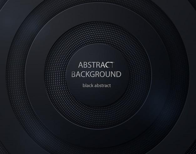 Papel preto cortado fundo redondo. abstrato 3d com camadas de papel preto