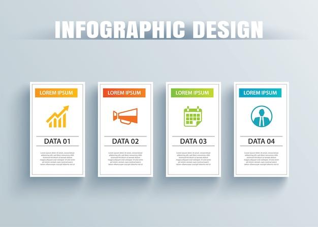 Papel quadrado de infográficos com modelo de 4 dados.