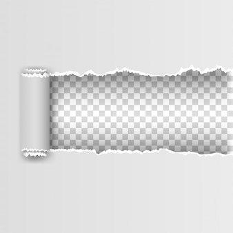 Papel rasgado branco com bordas rasgadas