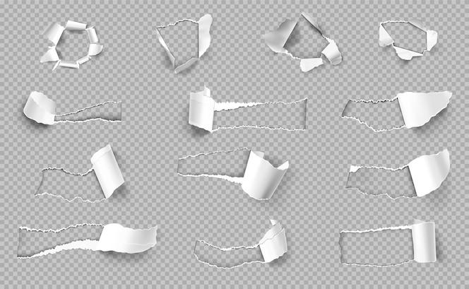 Papel rasgado com bordas de diferentes formas transparentes realistas conjunto isolado