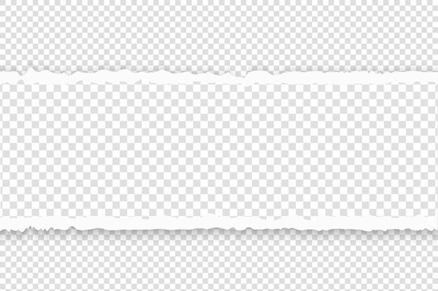 Papel rasgado com bordas rasgadas. papel cinza horizontal rasgado ao quadrado com espaço vazio para texto. molde da bandeira branca do rasgo do rasgo.