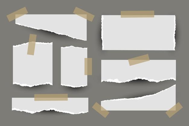 Papel rasgado com conjunto de fita
