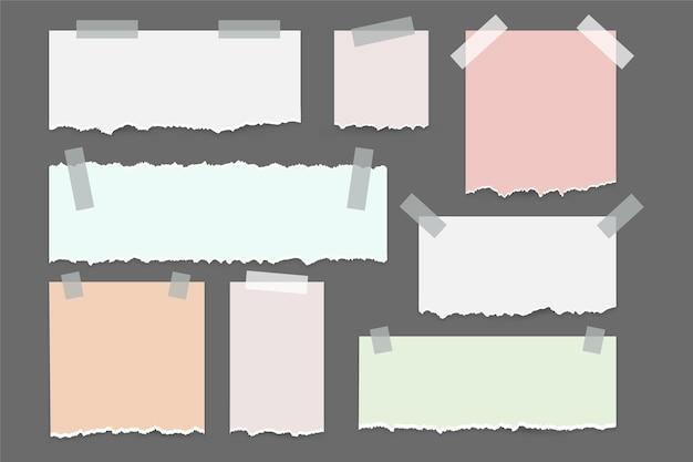 Papel rasgado com conjunto de papel