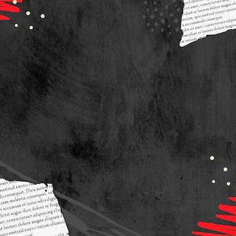 Papel rasgado com fundo preto emoldurado