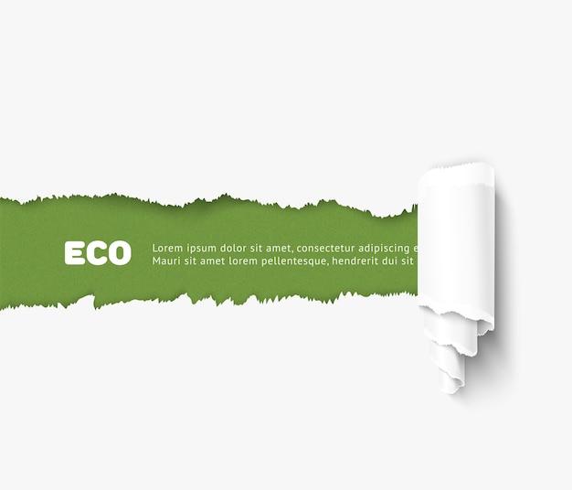 Papel rasgado com ilustração de rolo, conceito eco. papel rasgado realista para design ecológico, banner para o dia mundial do meio ambiente