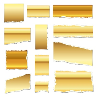 Papel rasgado de ouro. pedaços de papel rasgado com sombras. pedaços de papel dourado isolados. ilustração. tiras de papel rasgado