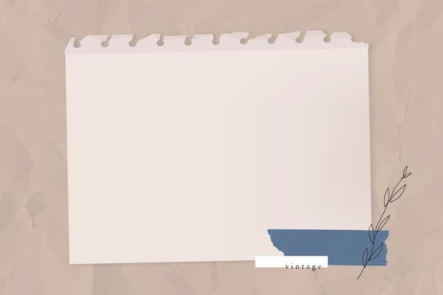 Papel rasgado em branco com vetor de modelo de fita washi