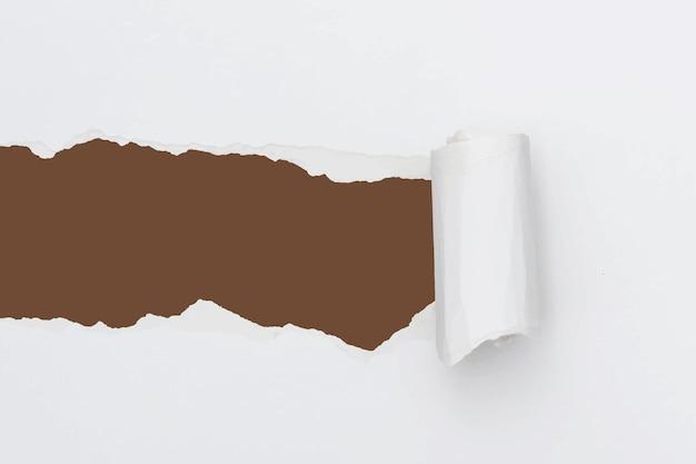 Papel rasgado fundo branco vetor artesanato simples feito à mão