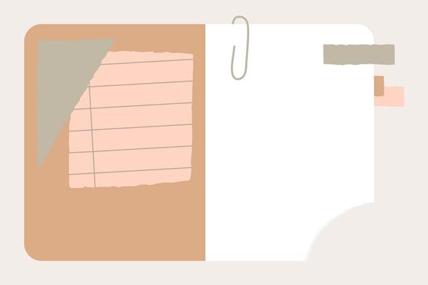 Papel rasgado no caderno