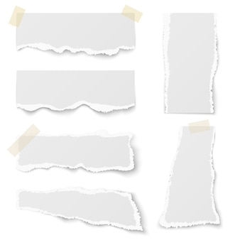 Papel rasgado nota com fita adesiva vector set