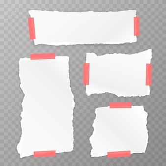 Papel rasgado quadrado definido no fundo transparente. ilustração vetorial