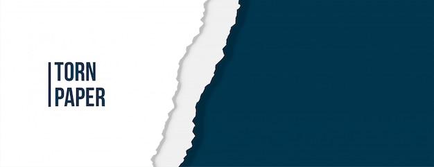 Papel rasgado rasgado na cor branca e azul