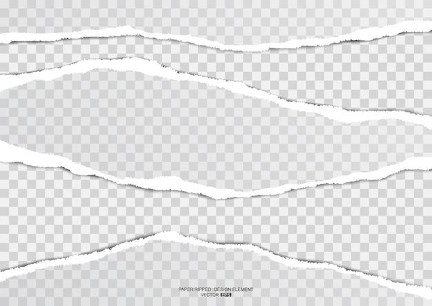 Papel rasgado realista rasgado listra em fundo transparente, ilustração