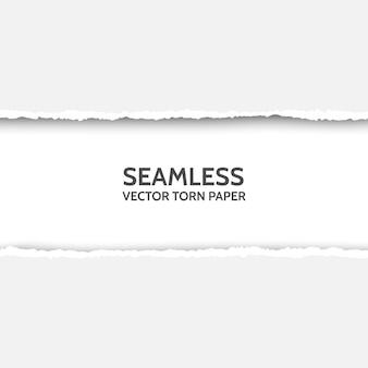 Papel rasgado sem emenda de vetor em fundo cinza. borda de papelão rasgada isolada com sombras suaves. modelo para seu projeto. texto de amostra