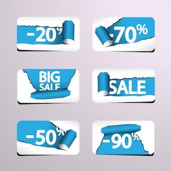 Papel rasgado tags de vendas coleção
