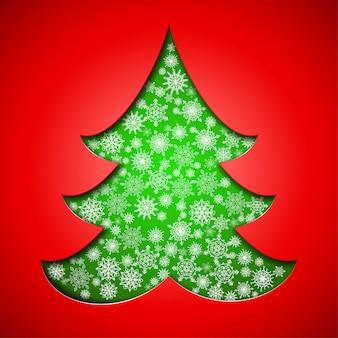 Papel recorte árvore de natal com flocos de neve