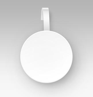 Papel redondo branco em branco publicidade de plástico wobbler preço vista frontal isolada no fundo