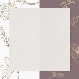 Papel retangular em fundo de contorno floral