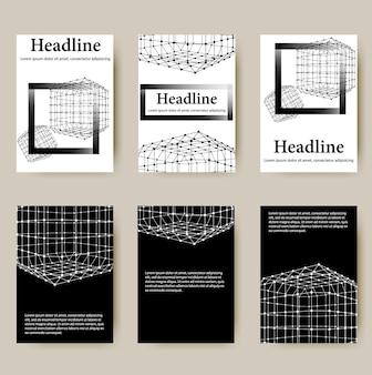 Papel timbrado de estilo do projeto poligonal e brochura para negócios. desenho poligonal de linha abstrata.