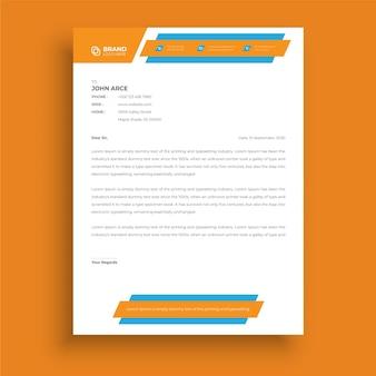 Papel timbrado de estilo empresarial profissional moderno abstrato design criativo de papel timbrado