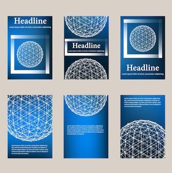 Papel timbrado e brochura do estilo do projeto poligonal de malha na moda para negócios. desenho poligonal de linha abstrata.