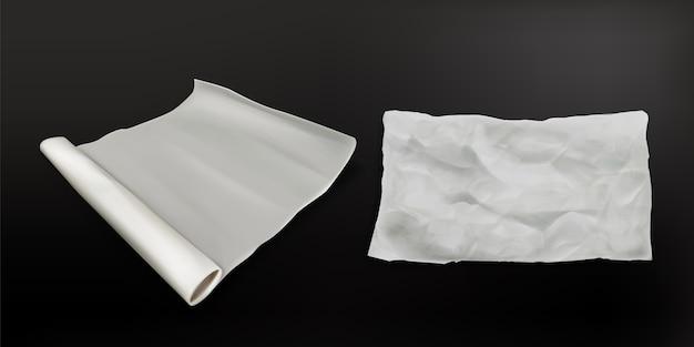 Papel vegetal realista, rolo de pergaminho à prova de gordura para cozinhar, textura de folha branca amassada e vista superior desdobrada do novo rolo. utensílios de cozinha de padaria isolados na superfície preta ilustração vetorial 3d