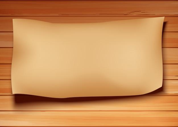 Papel velho em um fundo de madeira