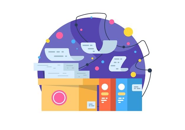 Papelada, trabalho de escritório. relatórios e análises. ilustração do conceito de negócios.