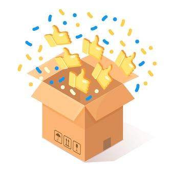 Papelão aberto, caixa de papelão com polegares para cima no fundo. pacote isométrico, presente, surpresa com confete. testemunhos, feedback, conceito de avaliação do cliente.