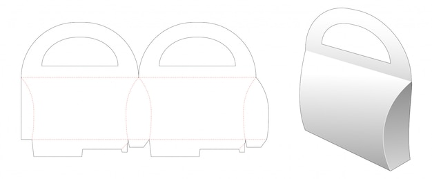 Papelão lida com design de modelo de corte de embalagens de travesseiro