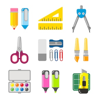 Papelaria escolar e de escritório. ícone definido em estilo simples. conjunto de itens diferentes de escola.