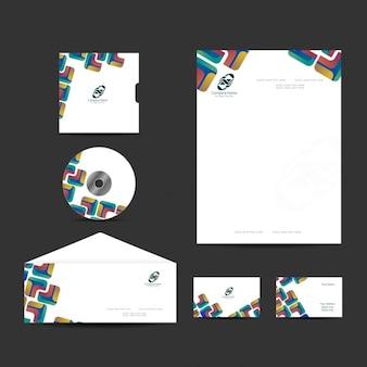 Papelaria negócio conjunto com design moderno e colorido