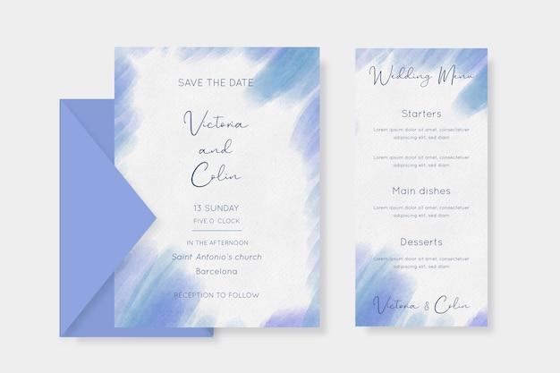 Papelaria para casamento minimalista em aquarela