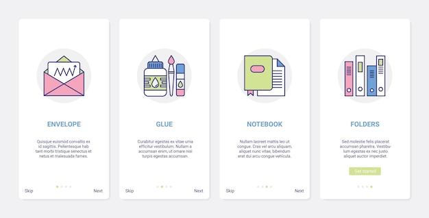Papelaria para trabalhos de escritório, gestão de documentos em papel. ui, ux onboarding app móvel conjunto carta envelope papel, cola papelaria bloco de notas pasta itens símbolos