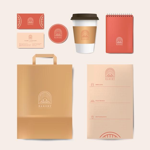 Paper branding mockup set vector