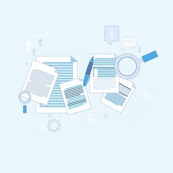 Paper document search ilustração de vetor de negócios de papelada de lupa