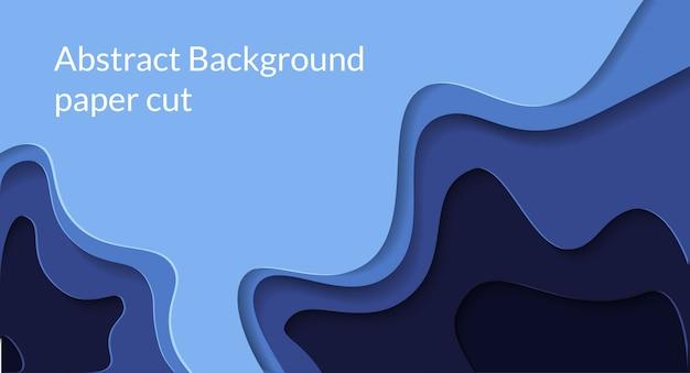 Papercut abstrato 3d fundo com cor azul