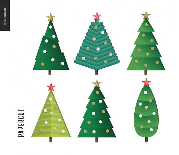 Papercut - conjunto de árvores de natal