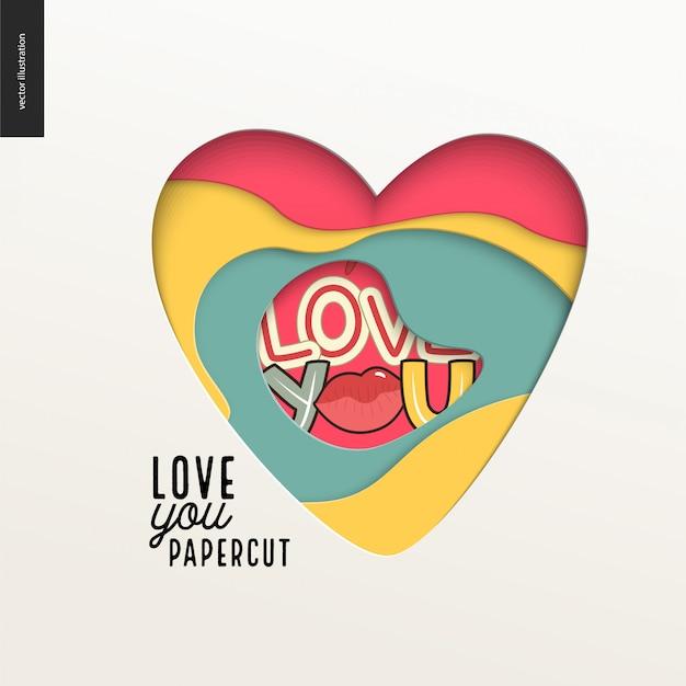 Papercut - coração colorido em camadas