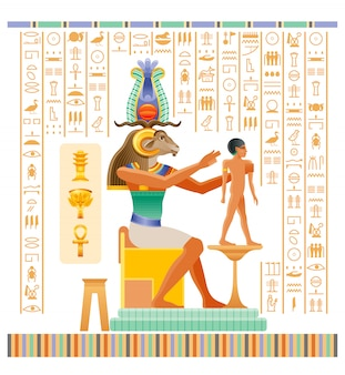Papiro egípcio antigo com deus khnum com cabeça de carneiro, criando o homem humano na roda de oleiro de barro.