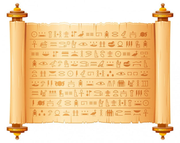 Papiro egípcio antigo com hieróglifos. padrão histórico do egito antigo. pergaminho antigo 3d com símbolos de script, faraós e deuses.