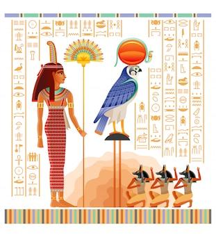Papiro egípcio antigo com ilustração do túmulo de nakht em luxor, vida após a morte duat. deuses ra, anúbis e deusa maat.