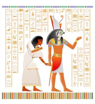 Papiro egípcio antigo do livro dos mortos com ritual da vida após a morte em duat. deus hórus com cabeça de falcão, segurando a alma humana.