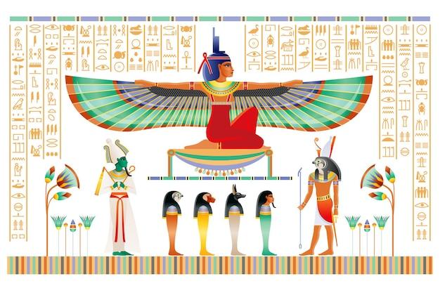 Papiro egípcio com deuses e deusa.