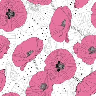 Papoulas cor de rosa delicadas padrão sem costura