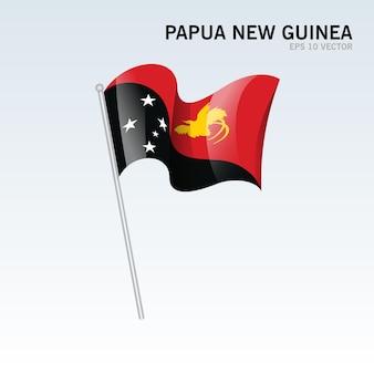 Papua nova guiné agitando bandeira isolada em cinza