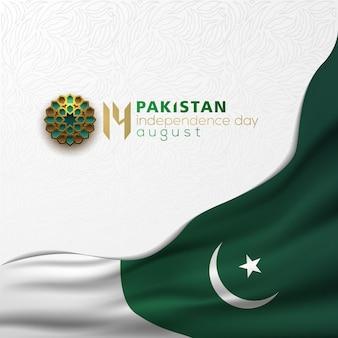 Paquistão, dia da independência, 14 de agosto, saudação desenho vetorial de fundo com caligrafia árabe