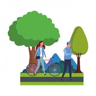 Par, andar, com, bicicleta