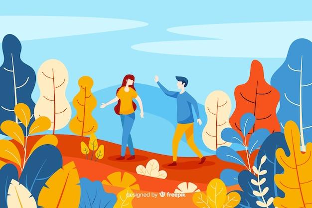 Par, andar, ligado, outono, parque